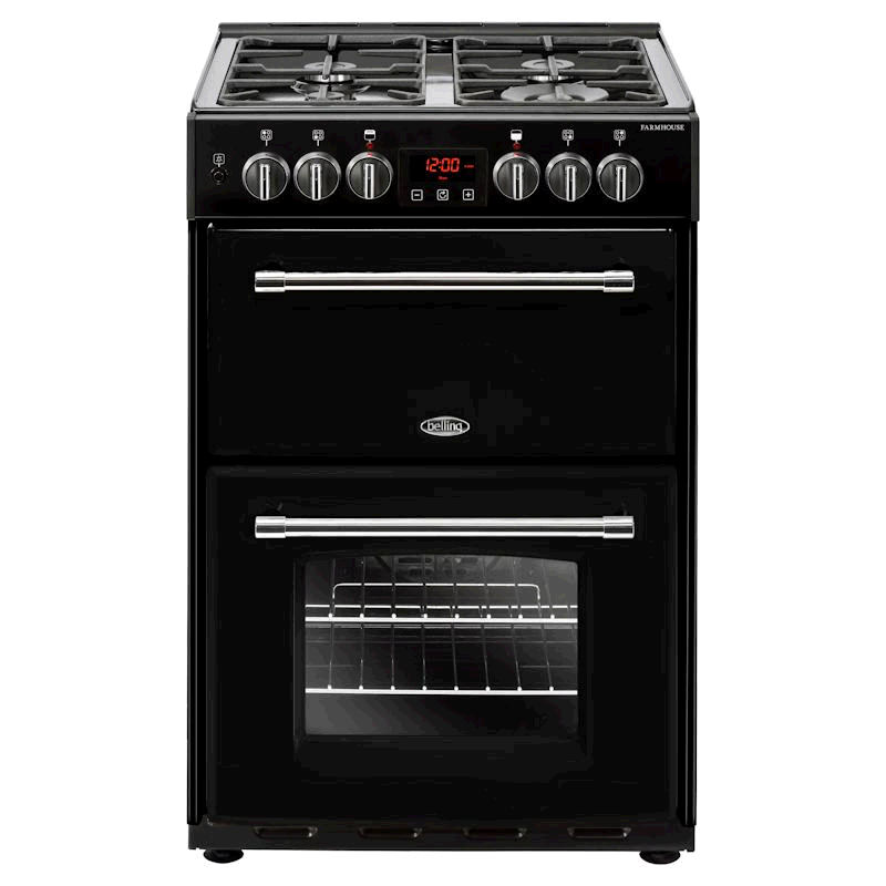 Belling Farmhouse 60cm Dual Fuel Cooker Mini Range - Black