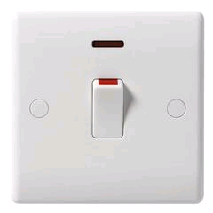 BG 20a Double Pole Switch with Neon and Flex Outlet