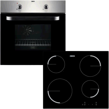 Zanussi Hob and Fan Oven Pack Black 60cm wide Ceramic Touch Control Single