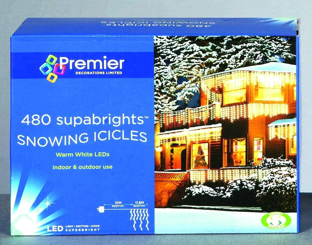Premier 480 LED Snowing Icicles (Blue/White) 5183612 11.8metres of lights and 10m cable before first light