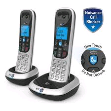 BT 2200 Twin Cordless Phone Black & Silver