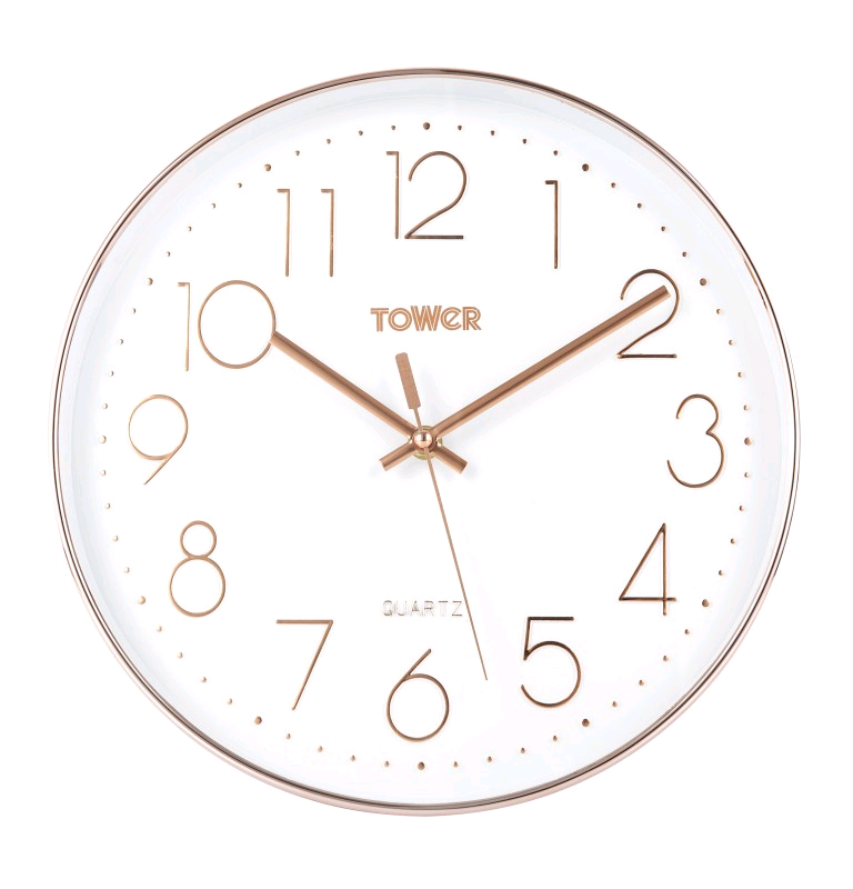 Tower Rose Gold Wall Clock 30cm