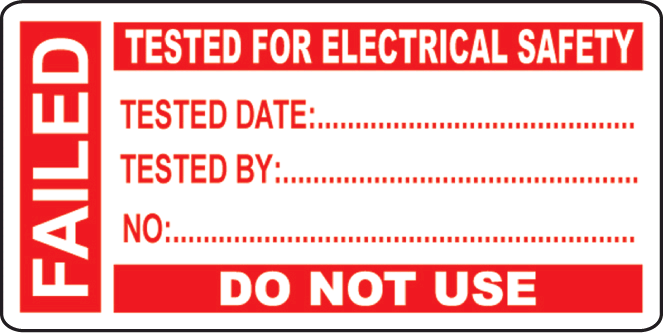 Industrial Signs Fail Test Label Small (Pack 50)