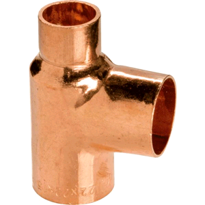 Copper Reducing Tee 22mm x 15mm x 22mm Endfeed