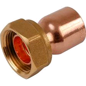 "Copper Straight Tap Connector 15mm x ¾"" Endfeed"