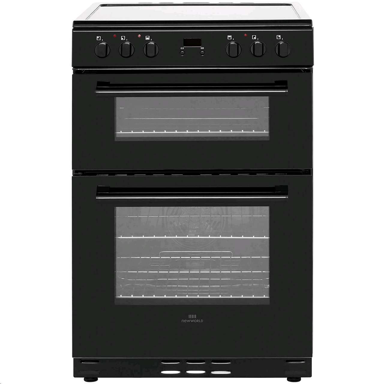 New World Electric Cooker 60cm Double Oven in Black Digital Timer