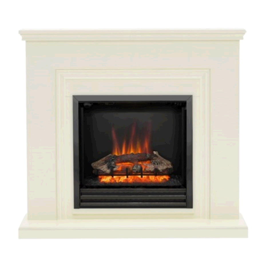 Be Modern Stanton Electric Fireplace Suite in Almond Stone Effect with Black Nickel Trim & Fret FOL100308
