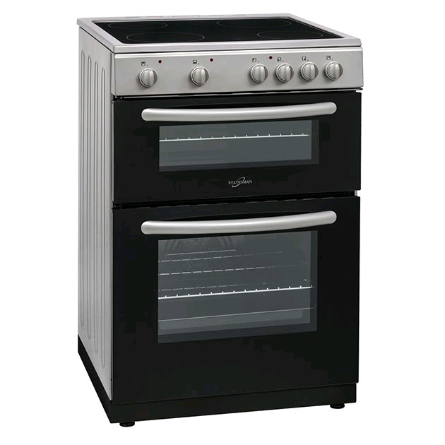 Statesman Apollo EDC60S 60cm Double Oven Ceramic Hob Cooker - Silver Fan Assisted 76/56 Nett Litre Capacity