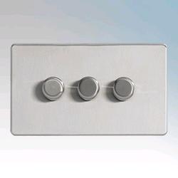 BG 3Gang 2Way Dimmer Switch Screwless Flatplate Brushed Steel