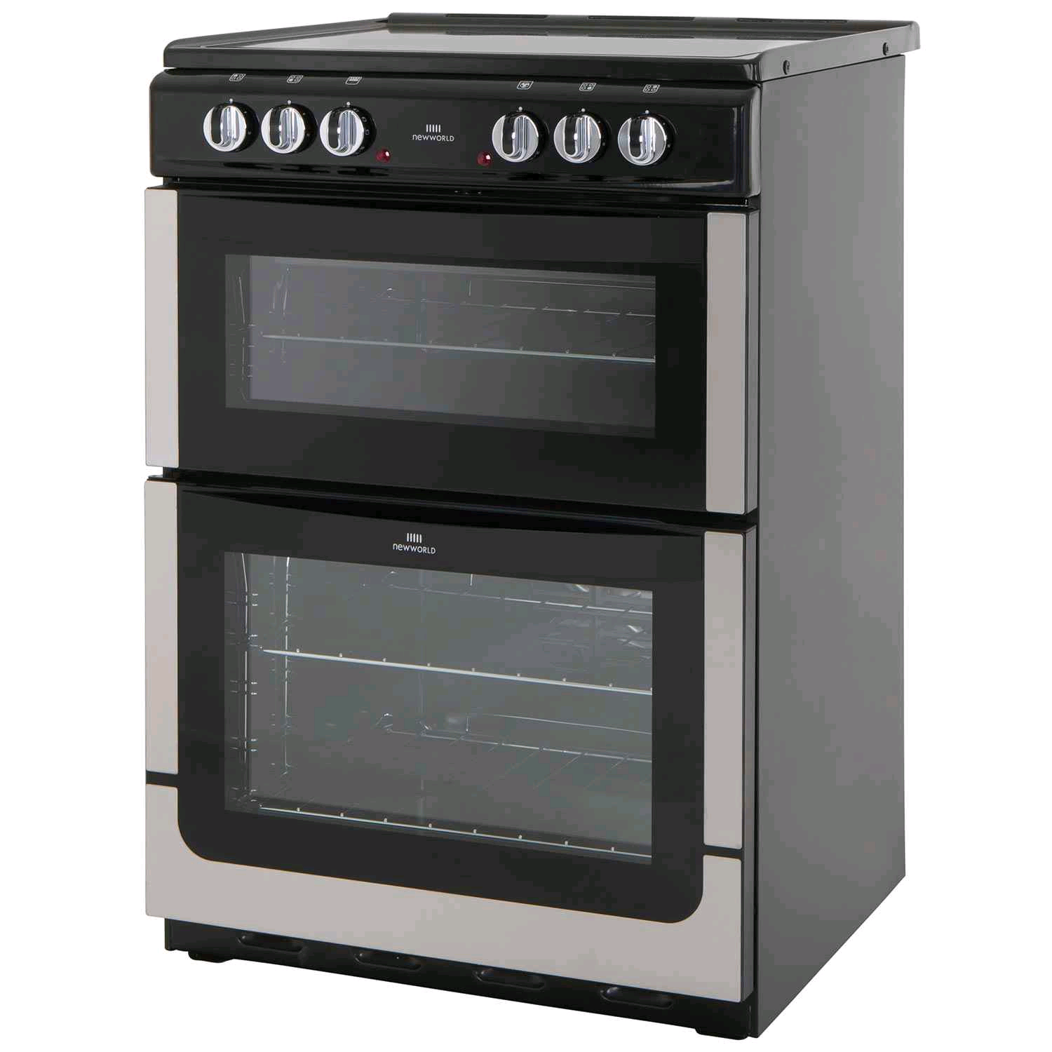 New World Electric Cooker 60cm Silver Double Oven