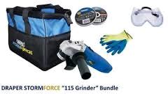 Draper 115mm Angle Grinder c/w  Bag,Goggles,Gloves & Discs