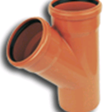Underground 110mm Equal Junction 45deg Double Terracotta D210 SOIL