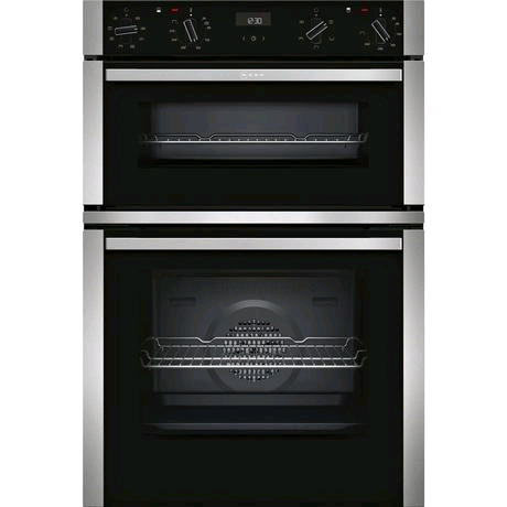Neff Built-In CircoTherm Electric Double Oven in Black/Stainless H885 W594