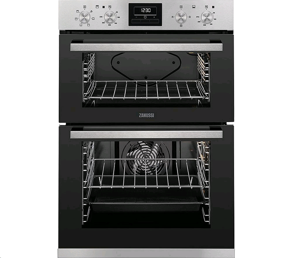 ZANUSSI Built In Double Oven with Timer, Clear enamel liners, white LEDs, Anti-fingerprint stainless steel.