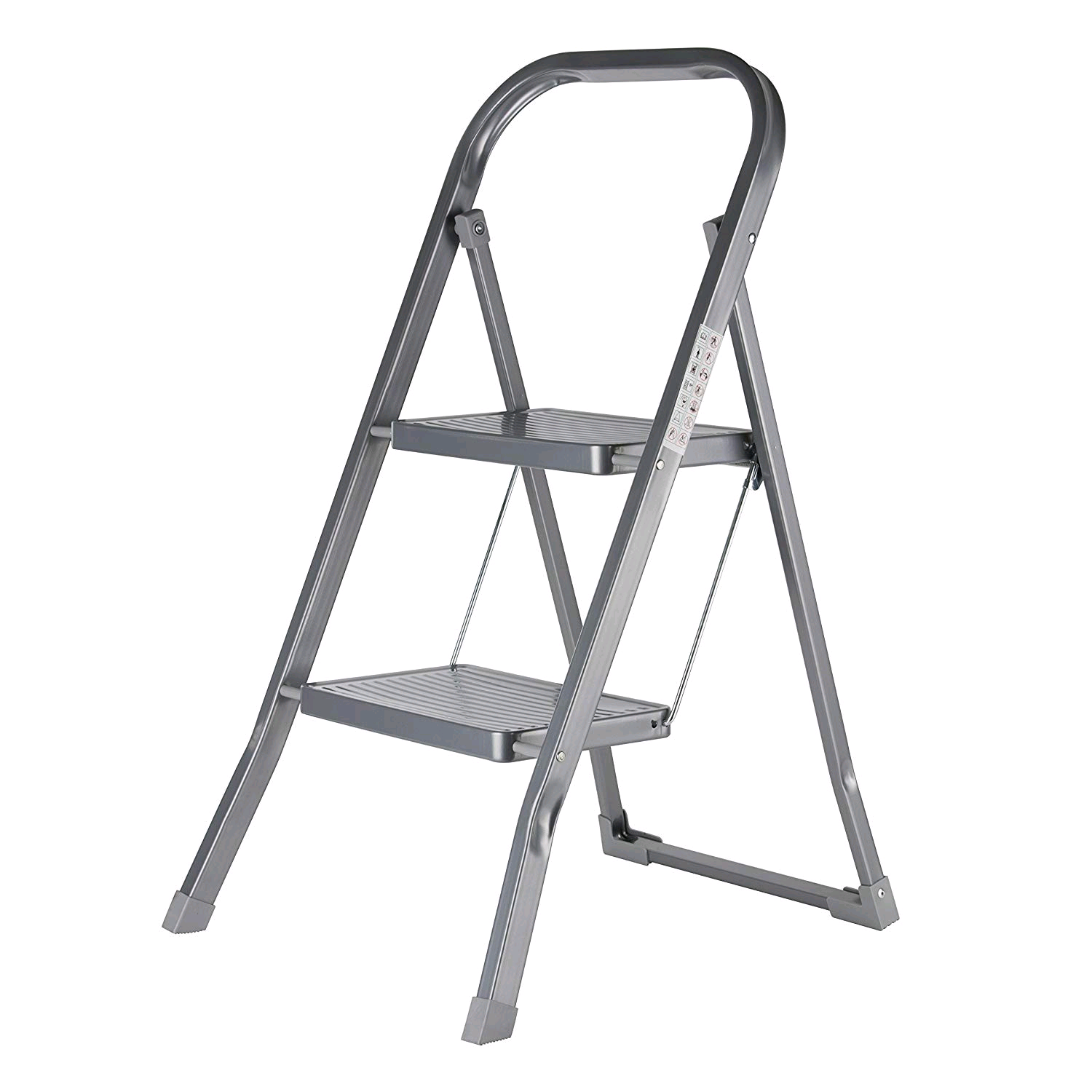 OurHouse SR20013 Heavy Duty Steel Folding 2 Tread Steps, Silver, 150 kg Capacity