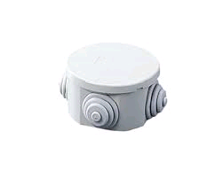 Gewiss Junction Box Round 65 x 35mm c/w Cable Glands IP44