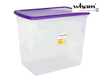 WHAM 7862838 Box + Lid 90L Clear/ Violet 13136