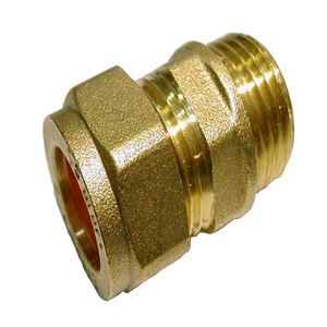 "Chrome Male Iron Coupling 15mm x 1/2"" Compression"