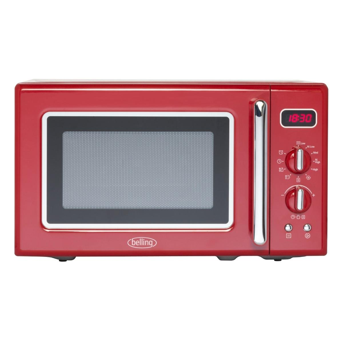 Belling 20ltr Microwave 800w in RED c/w Clock Timer & 5 Power Levels