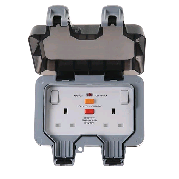 BG Weather Proof RCD Twin 13a Switched Socket (Latching)