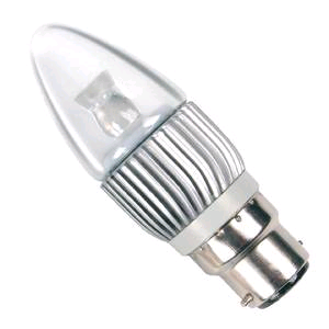 Bell 4w LED BC Clear Candle Cool White