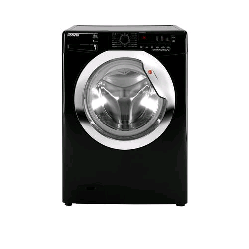 Hoover Washing Machine 8Kg 1500Spin Black With Chrome Door