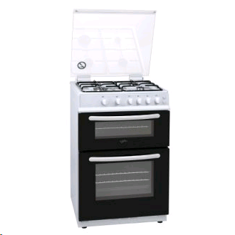 STATESMAN GDL60W Double Oven White Gas Cooker 60cm Glass Lid