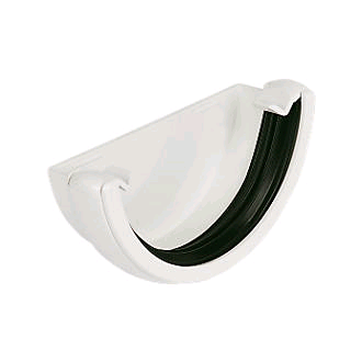 Floplast 112mm Half Round External Stopend White RE1