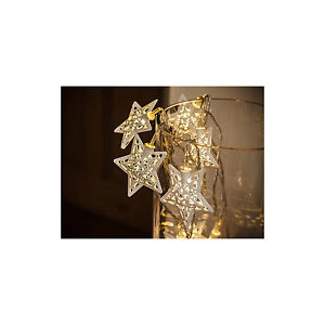 NOMA 2314085 METAL FILIGREE STAR GARLAND X10 LED