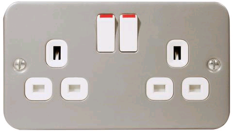 BG Metal Clad 2gang 13a Switched Socket