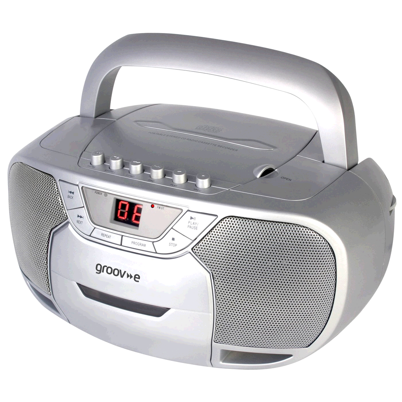 Groove GVPS823 Groov-e Classic Boombox Portable CD Player with Cassette & Radio Silver