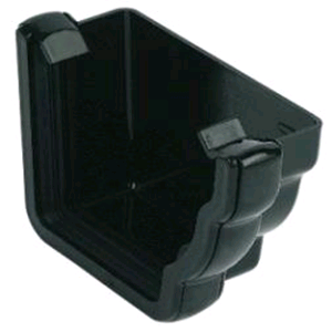 Floplast Niagara Square Gutter External R/H Stop End in Black