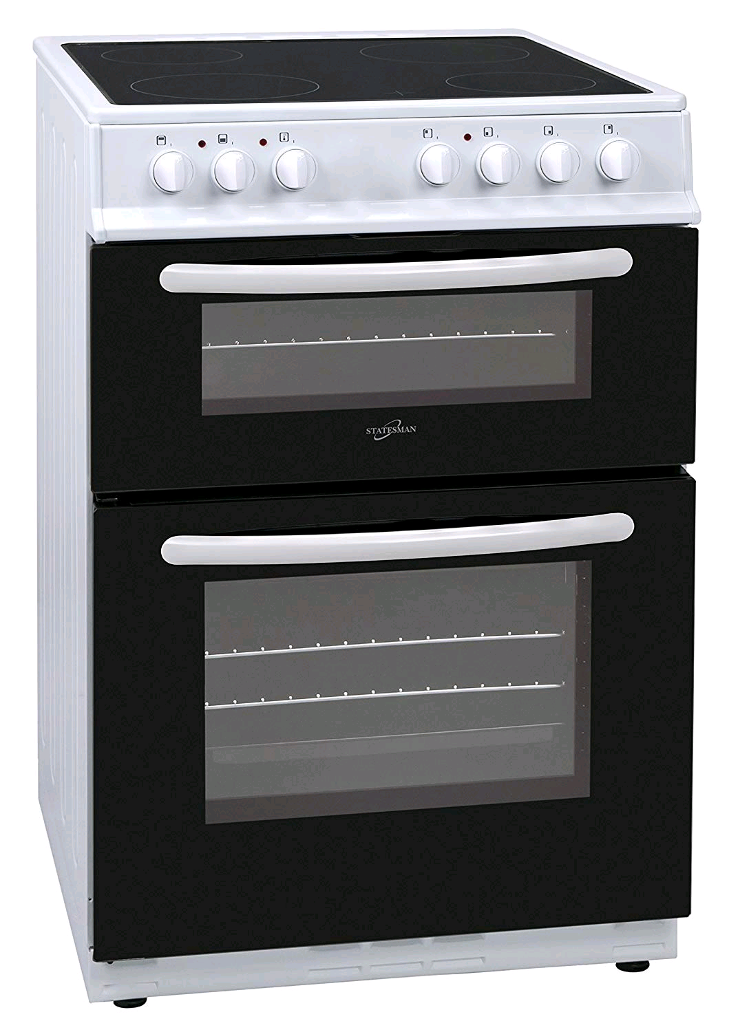 Statesman Apollo EDC60W 60cm Double Oven Ceramic Hob Cooker - White Fan assisted 76/56 Nett Litre Capacity