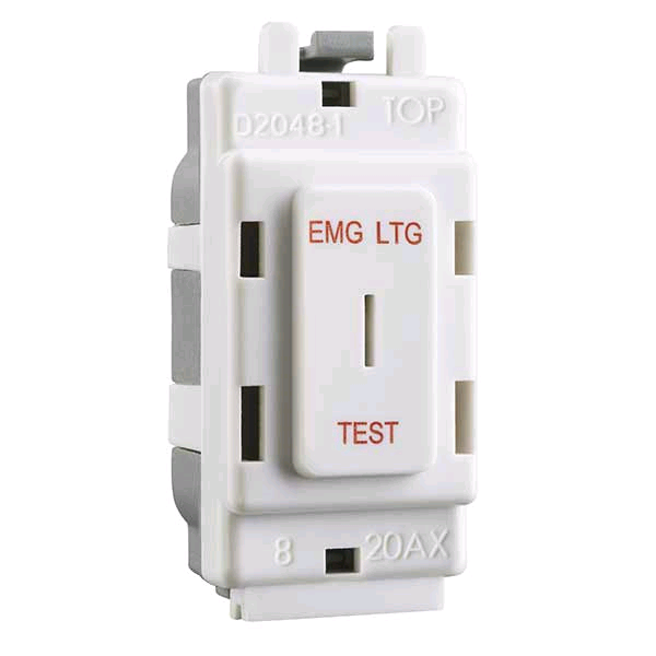 BG Grid 20a Key Switch EMG LTG TEST White
