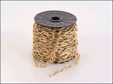 Oval Chain Shiny Brass Plated up to 11KG load (per metre)