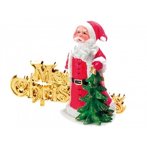 ANNIVERSARY HOUSE BX221 LUXURY BOXED TRADITIONAL SANTA RESIN TOPPER AND MOTTO