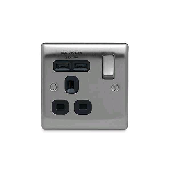 BG 13a Single Socket c/w USB Port Brushed Steel Black Insert