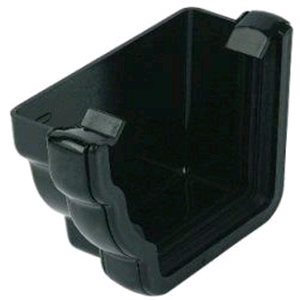 Floplast Niagara Square Gutter External Stop End LH in Black