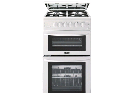 Belling White Gas Cooker Double Oven Nat Gas & Lid  H90 W50 D60cm