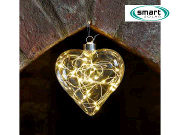 Smart Solar Crystalights Heart 10 LED Battery Operated 6321330 Warm White