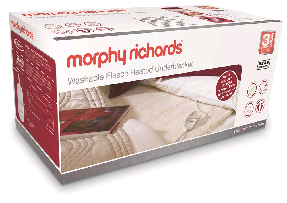 Morphy Washable Fleecy Double Underblanket Dual Control
