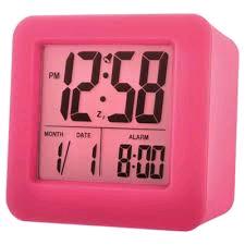 Acctim Vanos LCD Alarm Clock Pink Rubber Casing