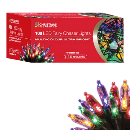 Christmas Workshop 100 LED Fairy Chaser Lights Multi Colour Ultra Brights