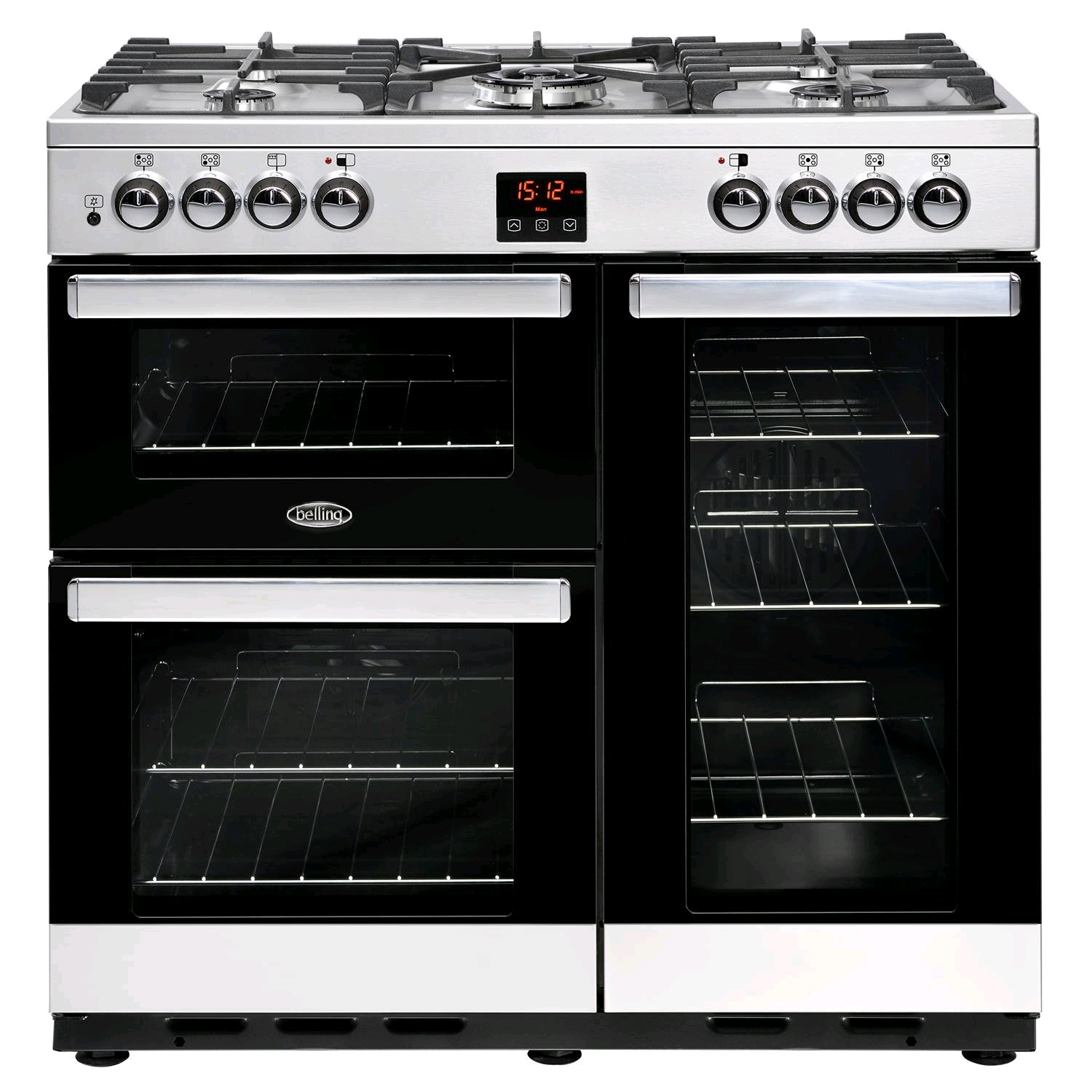 Belling Farmhouse Dual Fuel Cooker 90DFT Stainless Steel 4444444070