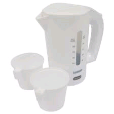 IGENIX 0.5L Travel Jug Kettle White with cups