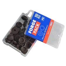 Forgefix No. 6-8's Hinged Domed Cover Caps (Pack of 20) Black Plastic