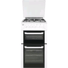Beko Double Oven Gas Cooker with Lid 50cm Wide White