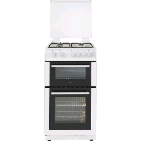 Belling Gas Cooker 50cm Twin Cavity Gas Cooker with Gas Hob and Glass Lid