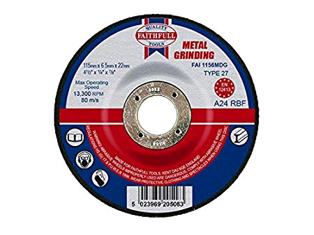 Faithfull 115 x 6.5 22mm Metal Grinding Disc Dep. Centre