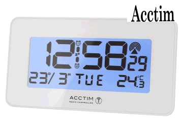 Acctim  Murren Radio Controlled LCD Alarm Clock 0022113 White 71882